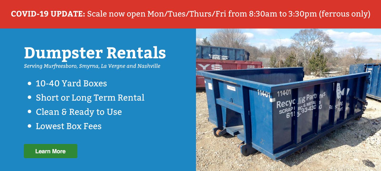 nashville dumpster rentals scrap metal recycling murfreesboro franklin brentwood dumpster rent